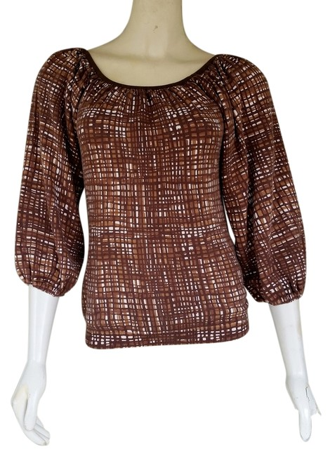 Preload https://item1.tradesy.com/images/banana-republic-brown-print-cotton-knit-xs-34-balloon-sleeve-blouse-size-2-xs-1659280-0-0.jpg?width=400&height=650