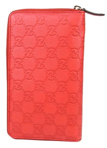 Gucci New GUCCI Unisex Guccissima Leather Zip Around Travel Clutch Wallet Coral Red 321117 6511