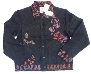 Coldwater Creek Denim dark wash with multi-color embroidery Womens Jean Jacket