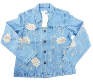 Coldwater Creek Denim Medium wash w/ tan floral details Womens Jean Jacket