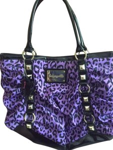 Betsey Johnson Betseyville Handbag Tote in Purple/Black Leopard Print