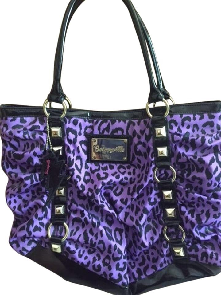 Betsey Johnson Betseyville Handbag Tote In Purple Black Leopard Print