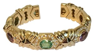 BVLGARI Bvlgari Bulgari 18KT Yellow Gold Diamond Cuff Bangle Bracelet