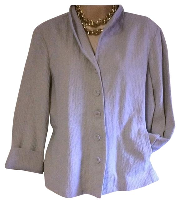 Eileen Fisher Organic Cotton Beige 5 Button Jacket L Blazer
