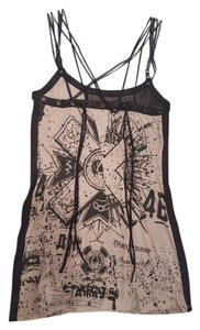 Salvage short dress gray/black Grommets Chains Lace Cut-out on Tradesy