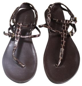 Charlotte Russe Crocodile Strappy Flat Brown Sandals