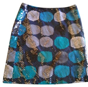 Ann Taylor Sequin Lined Skirt Blue