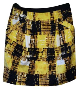 Lily White Side Pockets Print Mini Mini Skirt yellow white and black