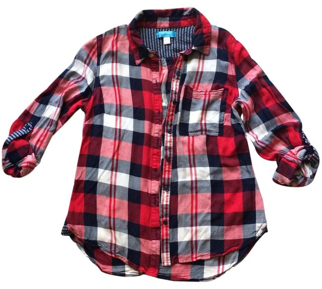 Item - Red Navy Plaid Button-down Top Size 4 (S)