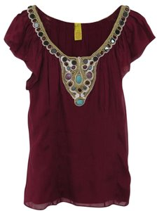 Catherine Malandrino Beaded Silk Embellished Romantic Top Cranberry