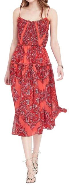 Item - Red-orange Pattern Paisley Strappy Midi Mid-length Casual Maxi Dress Size 0 (XS)