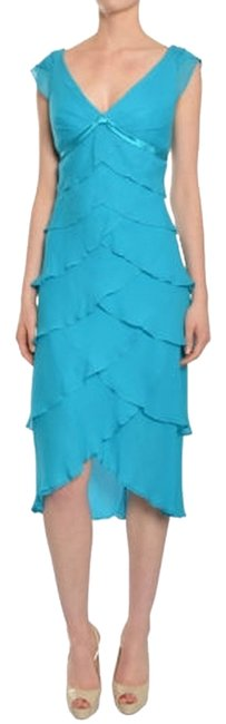 Item - Blue Tiered Knee Length Cocktail Dress Size 4 (S)