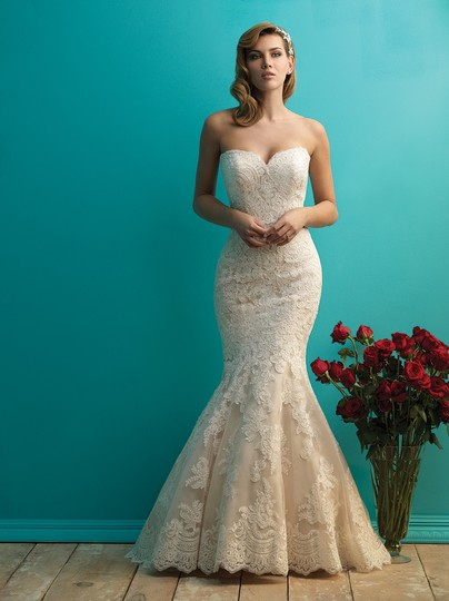 Preload https://img-static.tradesy.com/item/16594864/allure-bridals-champagne-and-white-lace-and-english-net-style-9250-formal-wedding-dress-size-6-s-0-0-540-540.jpg
