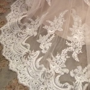 Allure Bridals Champagne & White Lace and English Net Style: 9250 Formal Wedding Dress Size 6 (S)
