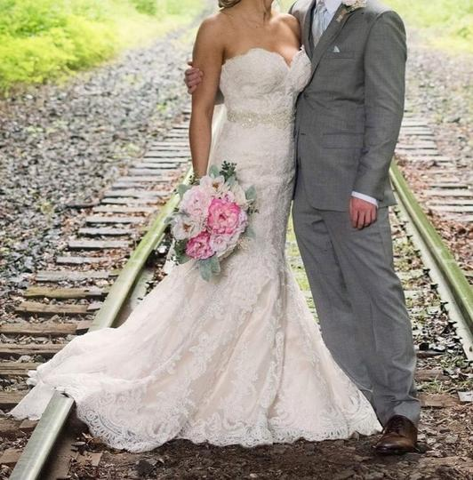 Allure Bridals Champagne & White Lace and English Net Style: 9250 Formal Wedding Dress Size 6 (S) Image 1