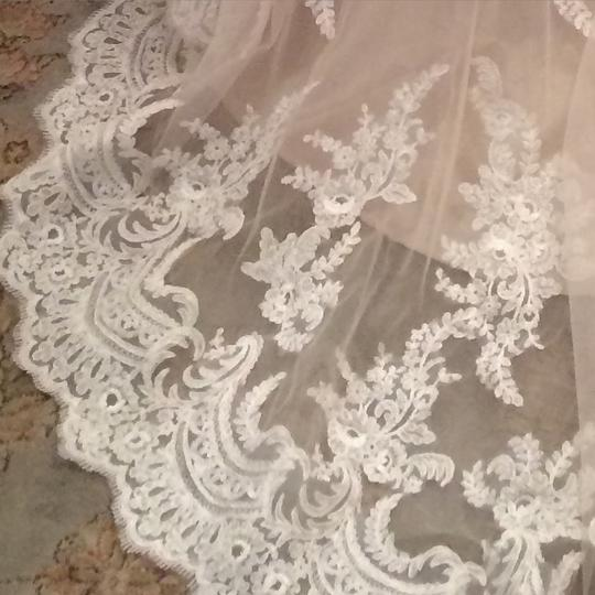 Allure Bridals Champagne & White Lace and English Net Style: 9250 Formal Wedding Dress Size 6 (S) Image 2
