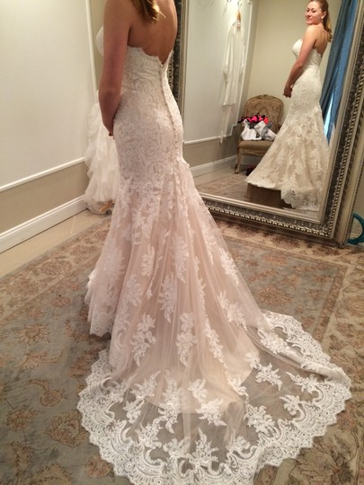 Allure Bridals Champagne & White Lace and English Net Style: 9250 Formal Wedding Dress Size 6 (S) Image 7