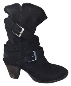 Steven by Steve Madden Leather Winter Black Boots