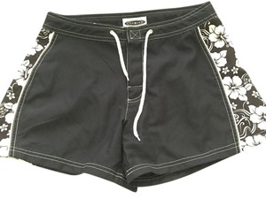Tek Gear Summer Hibiscus Floral Board Shorts Black