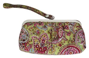 Vera Bradley Wristlet in Light green and pink paisley