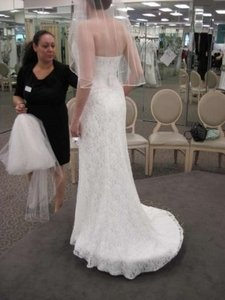 David's Bridal White Lace Allover Beaded Gown with Empire Waist. Modern Wedding Dress Size 6 (S)