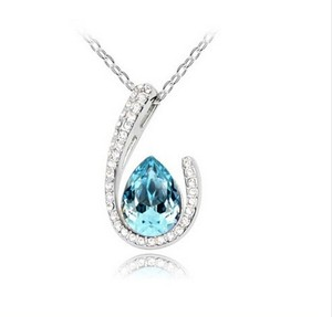 Blue Topaz Sparkling Necklace Free Shipping