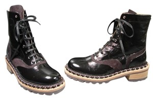 Chanel Bk Patent Leather Black with Dark Brown Boots