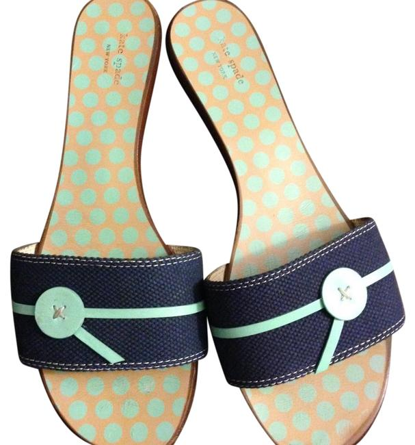 Item - Navy with Teal Accent Summer Sandals Pumps Size US 10 Regular (M, B)