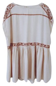 Free People short dress Nude Embroidered Tunic on Tradesy