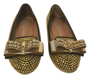 Jeffrey Campbell Padded Insoles Double Bows Black suede gold metal Flats