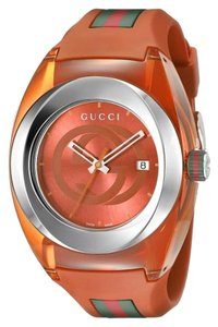 Gucci SYNC XXL Stainless Steel with Orange Rubber Bracelet Watch YA137108