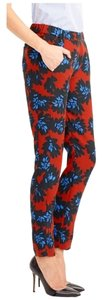 J.Crew Floral Red Firework Drape Straight Pants Red Multi