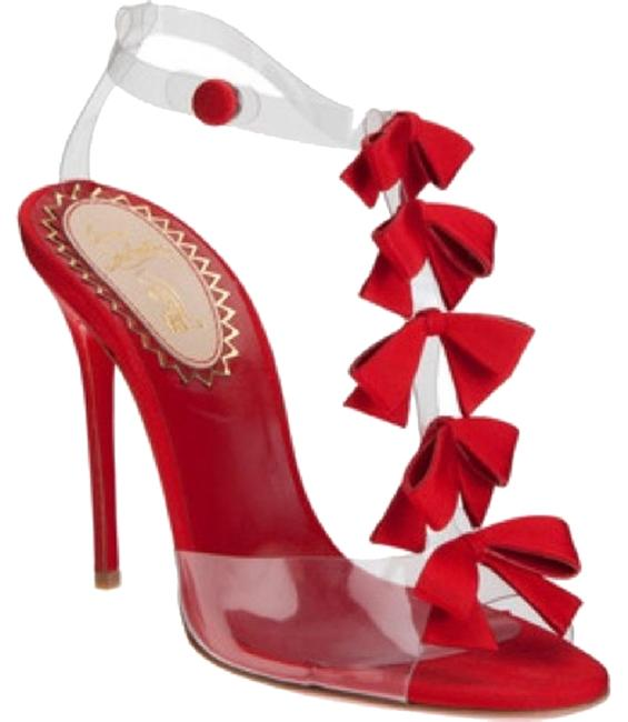 Item - Red and Clear Bow Bow Formal Shoes Size US 9 Regular (M, B)