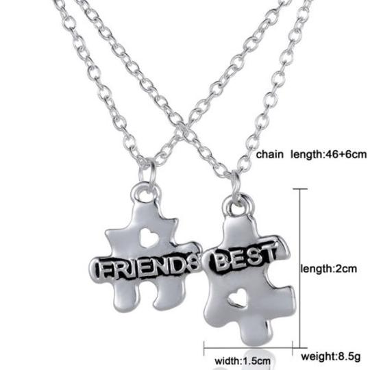 Silver Bogo Free 2pc Puzzle Bff Free Shipping Necklace