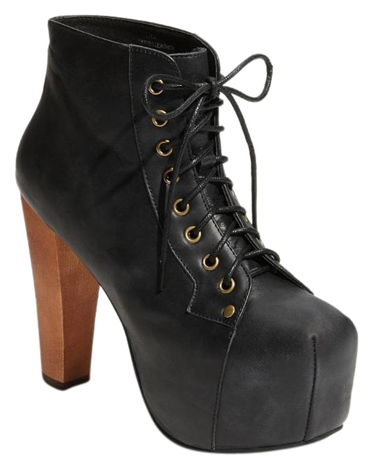 Jeffrey campbell black lita leather platform classic 10m boots booties size us 10 regular m b - Jeffrey campbell lita platform boots ...