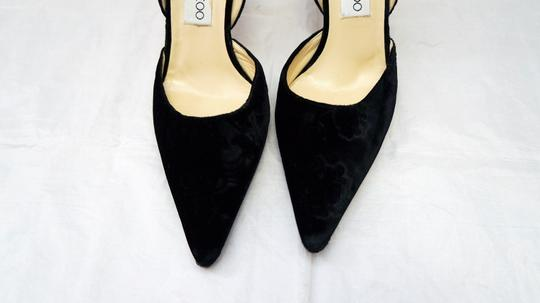 Jimmy Choo Velvet Jacquard Pointed Toe Black Pumps