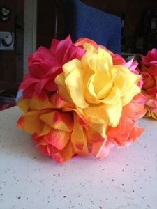 Coral Light Orange Yellow Pink Kissing Balls Reception Decoration