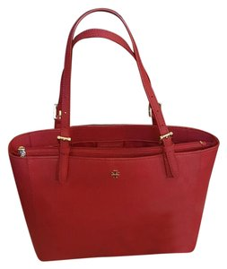 Tory Burch Saffiano Leather Tote in Kir Royale