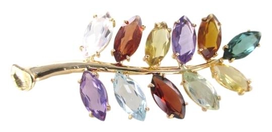 Other 18KT SOLID YELLOW GOLD PIN BROOCH FLOWER MULTI COLOR PRECIOUS STONES 5.5 GRAMS