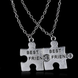 Silver Bogo Free 2 Pc Puzzle Bff Free Shipping Necklace