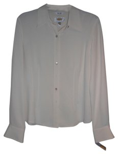 Talbots Silk Button Down Shirt cream