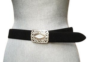 Lauren Ralph Lauren Lauren Ralph Lauren Black Leather Belt W/Square Buckle + Rhinestones