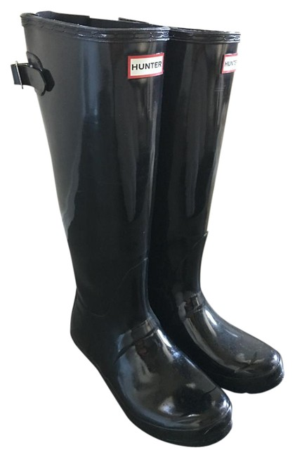 Item - Black Glossy Tall Waterproof Boots/Booties Size US 8 Wide (C, D)
