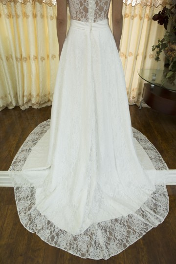 Handmade New Romantic Vneck White Lace Wedding Dresses Sexy Lace Seethrough Back Wedding Gown With Crystal Belt Wedding Dress