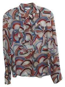 Cacharell Silk Red White Blue Top Multi colored