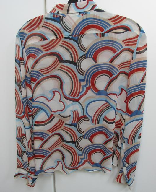 Cacharell Silk Red White Blue Ong Sleeves Top Multi colored