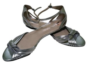 Talbots Size 7aa Made In Brazil Leather Upper Silver Metallic Sandals