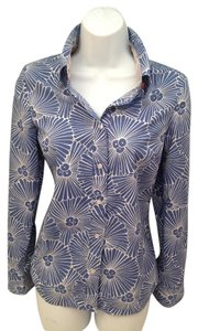 Boden Long Sleeve Button Down Blue Floral Top Royal blue