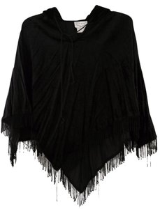 Feed Back Fringed Hooded Velvet Cape