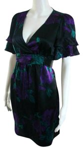 Betsey Johnson short dress Purple Floral Silk Vintage Pinup V Neck on Tradesy